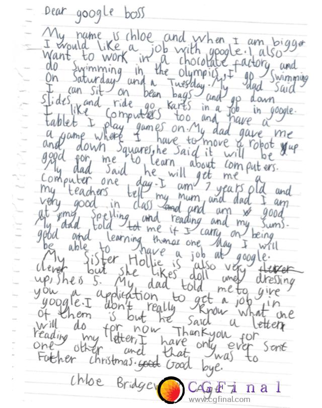 7岁女孩写信向谷歌求职 CEO皮查伊亲自回复予以鼓励